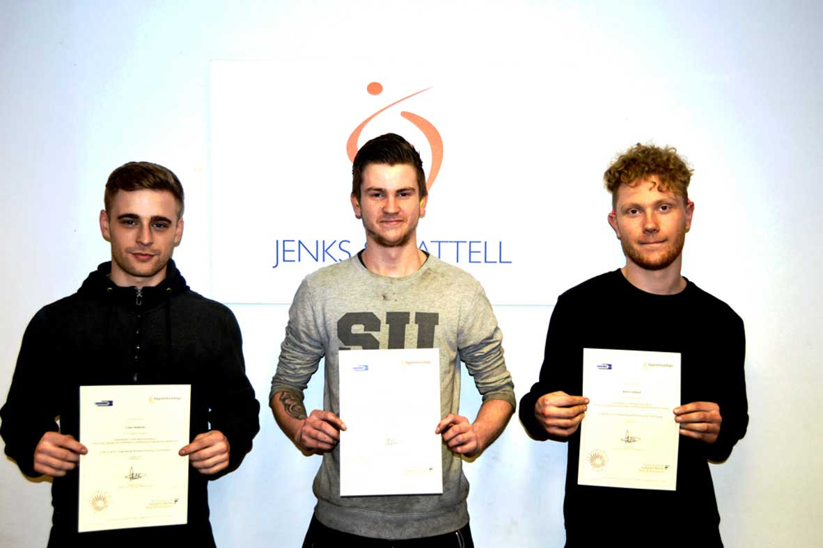 Jenks & Cattell 3 Apprentices Complete First Engineering Qualifications